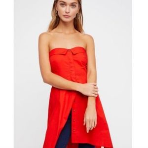 Free People On My Way Red Strapless Tunic Top